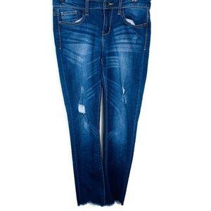 Judy Blue Dark Distressed Raw Hem skinny Jeans 28